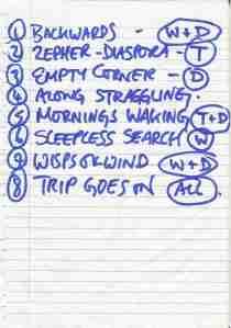 Birch Book - Salzburg (Rockhouse) (25.11.2008) Setlist © Alex Melomane