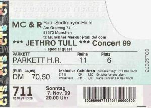 Jethro Tull – Munich (Rudi Sedlmayer Halle)(07.11.1999) Ticket © Alex Melomane