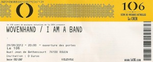 Wovenhand – Rouen (Le 106)(29.09.2012) Ticket © Alex Melomane