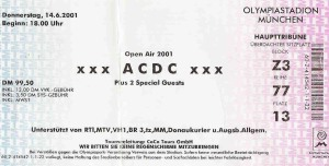 AC/DC - Munich (Olympiastadium)(14.06.2001) Ticket © Alex Melomane