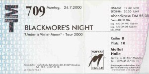 Blackmore's Night - Munich (Muffathalle)(24.07.2000) Ticket © Alex Melomane