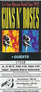 Guns N' Roses - Stuttgart (Cannstatter Wasen)(28.05.1992) Ticket © Alex Melomane
