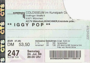 Iggy Pop – Munich (Colosseum)(24.07.1999) Ticket © Alex Melomane