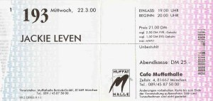 Jackie Leven - Munich (Muffathalle - Cafe)(22.03.2000) Ticket  © Alex Melomane