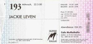 Jackie Leven - Munich (Muffathalle - Cafe)(22.03.2000) Ticket  © Alex Melomane