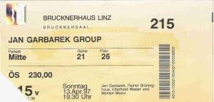 Jan Garbarek - Linz (Brucknerhaus)(13.04.1997) Ticket © Alex Melomane