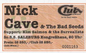 Nick Cave & The Bad Seeds - Salzburg ( Kongreßhaus)(08.05.1994) Ticket © Alex Melomane