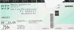 PJ Harvey - Munich (Colosseum)(09.03.2001) Ticket © Alex Melomane