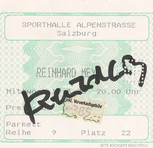 Reinhard Mey - Salzburg (Sporthalle)(10.03.1993) Ticket © Alex Melomane