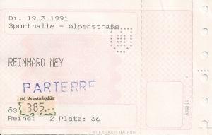 Reinhard Mey - Salzburg (Sporthalle)(19.03.1991) Ticket © Alex Melomane