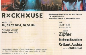 Adam Green - Salzburg (Rockhouse)(05.02.2014) Ticket © Alex Melomane
