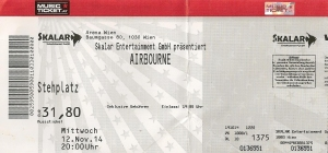 Airbourne – Vienna (Arena)(12.11.2014) Ticket © Alex Melomane