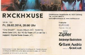 Anna Calvi – Salzburg (Rockhouse)(28.02.2014) Ticket © Alex Melomane