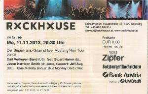 Carl Verheyen Band – Salzburg (Rockhouse Bar)(11.11.2013) Ticket © Alex Melomane