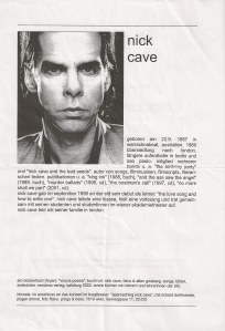 Nick Cave - Vienna (Burgtheater)(30.10.2002) Flyer Back © Alex Melomane