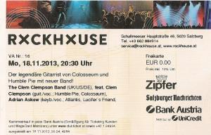 The Clem Clempson Band – Salzburg (Rockhouse Bar)(18.11.2013) Ticket © Alex Melomane