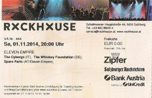 TheCyborgs - Salzburg (Rockhouse - Bar)(01.11.2014) Ticket © Alex Melomane