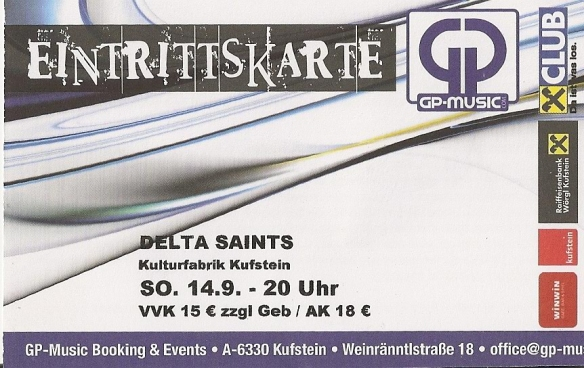 Delta Saints - Kufstein (Kulturfabrik)(14.09.2014) Ticket © Alex Melomane