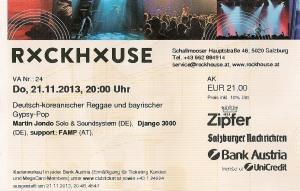 Django 3000 – Salzburg (Rockhouse)(21.11.2013) Ticket © Alex Melomane