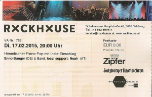 Enno Bunger – Salzburg (Rockhouse Bar)(17.02.2014) Ticket © Alex Melomane