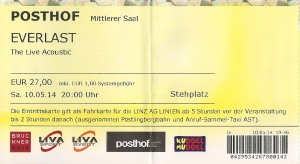 Everlast – Linz (Posthof - Small Hall)(10..05.2014) Ticket © Alex Melomane