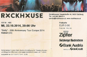 Helmet - Salzburg (Rockhouse)(22.10.2014) Ticket © Alex Melomane