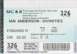 Ian Anderson - Munich (Prinzregententheater)(20.05.1995) Ticket © Alex Melomane