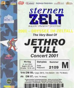 Jethro Tull – Bad Reichenhall (Sternenzelt)(04.06.2001) Ticket © Alex Melomane