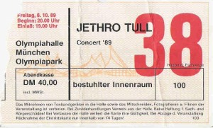 Jethro Tull – Munich (Olympiahalle)(06.10.1989) Ticket © Alex Melomane