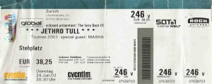 Jethro Tull – Munich (Zenith)(24.06.2003) Ticket © Alex Melomane