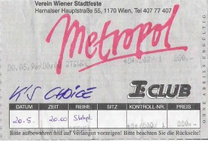 K's Choice - Vienna (Metropol))(20.05.1996) Ticket © Alex Melomane
