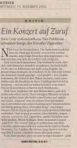 Nick Cave - Vienna (Konzerthaus)(13.11.2006) Kurier Review © Alex Melomane