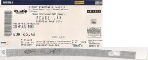 Pearl Jam– Vienna (Stadthalle)(25.06.2014) Ticket & Wristband © Alex Melomane