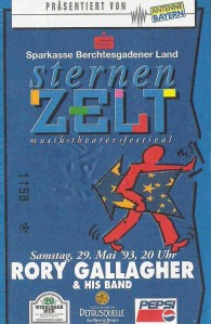 Rory Gallagher - Bad Reichenhall (Sternenzelt)(29.05.1993) Ticket © Alex Melomane