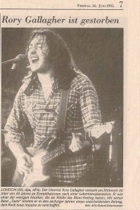 "Rory Gallagher – Obituary ""Salzburger Nachrichten"" © Alex Melomane"