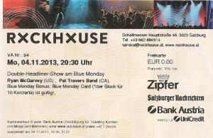 Ryan McGarvey – Salzburg (Rockhouse Bar)(04.11.2013) Ticket © Alex Melomane