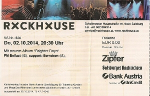 FM Belfast – Salzburg (Rockhouse)(02.10.2014) Ticket © Alex Melomane