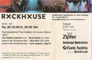 Hidden Cameras – Salzburg (Rockhouse)(04.10.2014) Ticket © Alex Melomane