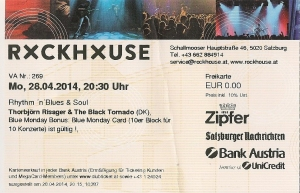 Thorbjorn Risager – Salzburg (Rockhouse - Bar)(28.04.2014) Ticket © Alex Melomane