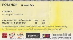 Calexico – Linz (Posthof)(26.11.2012) Ticket © Alex Melomane