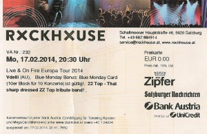 Vdelli – Salzburg (Rockhouse Bar)(17.02.2014) Ticket © Alex Melomane