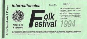 Wolfstone – Hallein (Folkfestival)(04.09.1994) Ticket © Alex Melomane