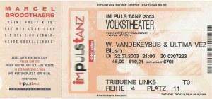 Woven Hand & Ultima Vez - Vienna (Volkstheater)(22.07.2003) Ticket © Alex Melomane