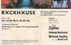 Wovenhand – Salzburg (Rockhouse)(22.05.2014) Ticket © Alex Melomane