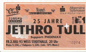 Jethro Tull – Wels (Stadthalle)(02.07.1993) Ticket © Alex Melomane