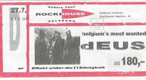 dEUS - Salzburg (Rockhouse) (27.07.1996) Ticket © Alex Melomane