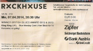 King King – Salzburg (Rockhouse Bar)(07.04.2014) Ticket © Alex Melomane