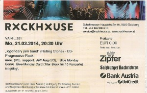 moe. – Salzburg (Rockhouse Bar)(31.03.2014) Ticket © Alex Melomane