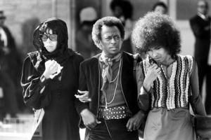 Miles Davis at Hendrix' funeral