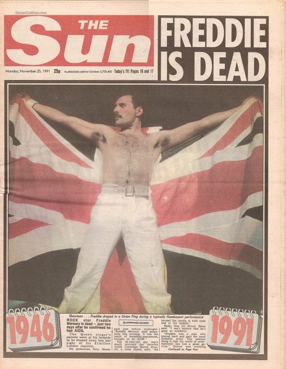 The Sun (25th November 1991) - Freddie is Dead